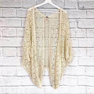 💫Poof Women's Cream Crocheted Shrug Cardigan